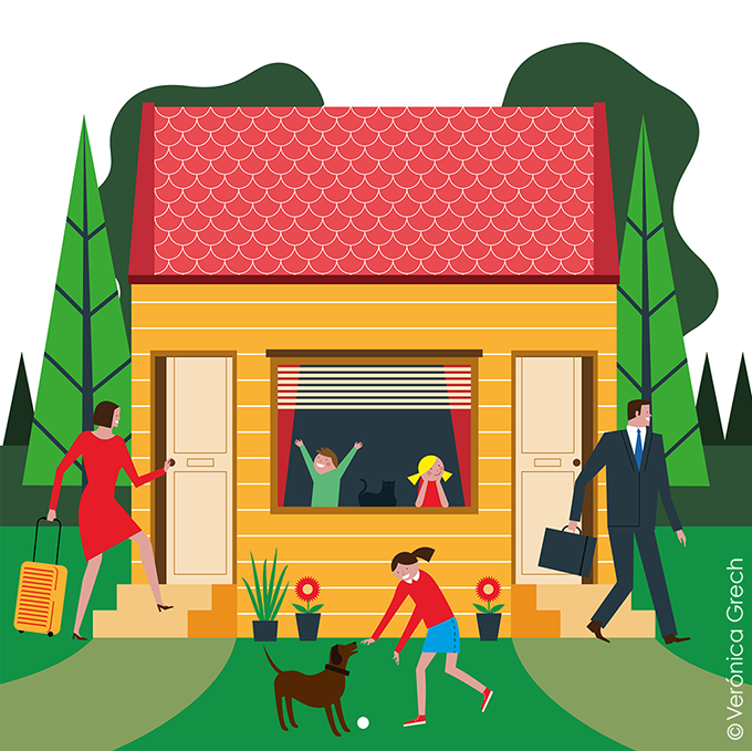 Family home for The Wall Street Journal — Veronica Grech Illustration