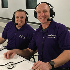 Dan Hermon and Andy Martens, play-by-play announcers of Kearney basketball.
