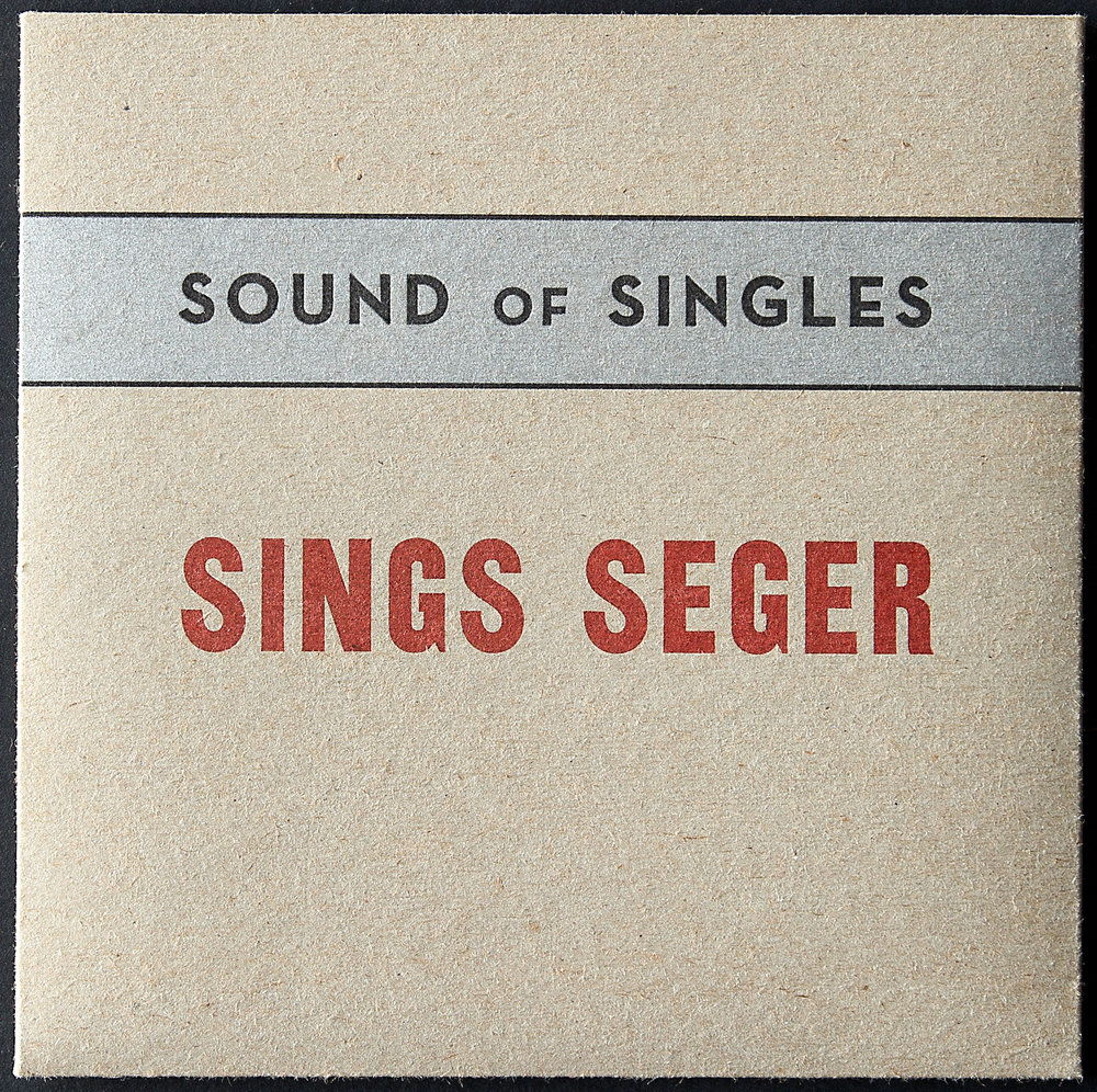 7 inch record. Front cover. Letterpress printed in three colors on 18pt chipboard.