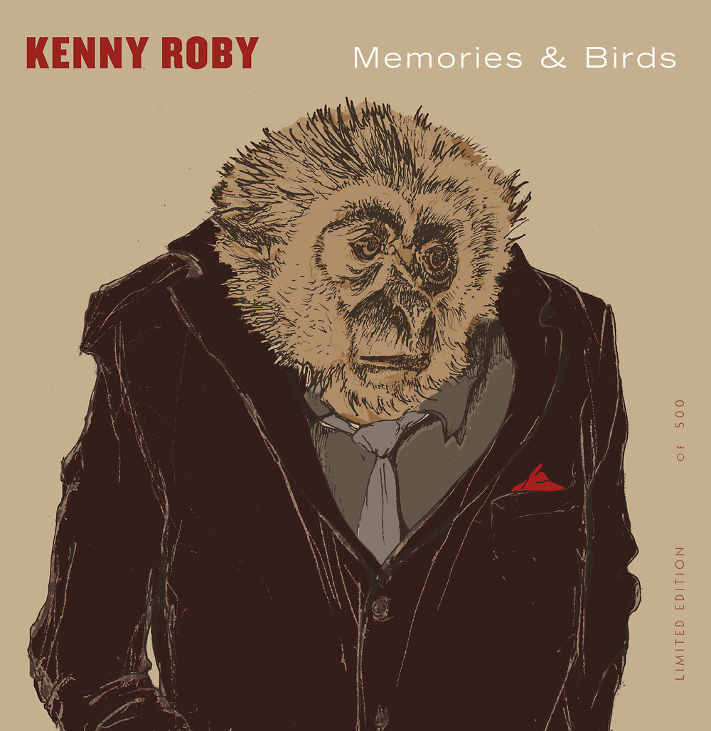 CD front cover. Singer as show monkey. Drawing of Mr. Gibbon as lounge singer by Jason Seale.