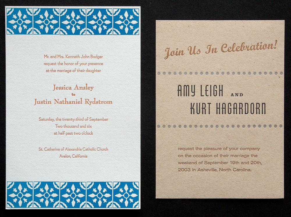 All letterpress wedding announcements are custom designs and tailored to the couple's personality and/or some element of the wedding locale or theme.