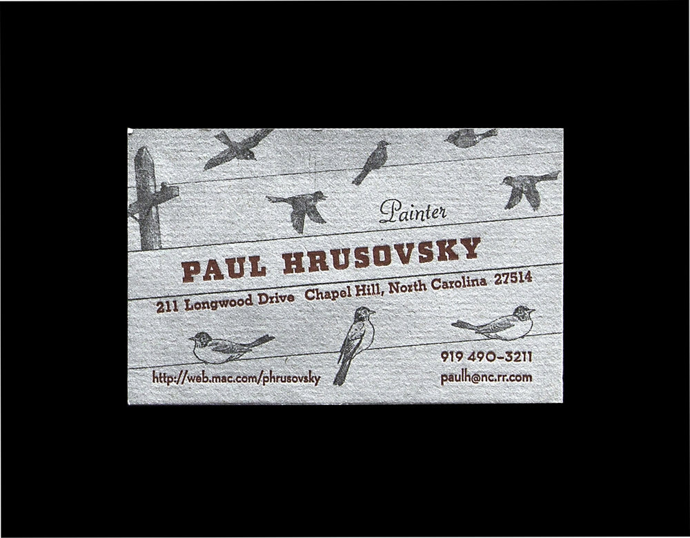 Paul and I collaborated on four different business card designs and this was my favorite. He wanted one of them to have a grungy feel so I used a halftone screen of a charcoal drawing for the background.