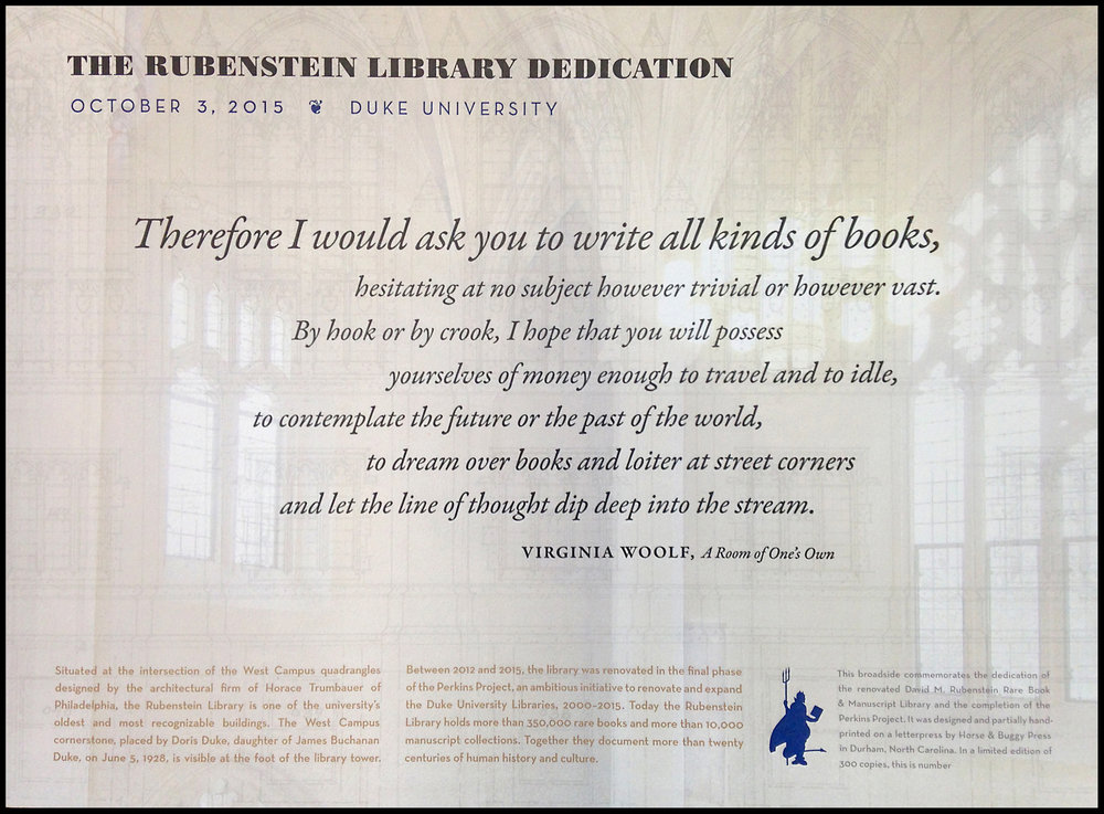 A keepsake for the donors to the impressive library renovation. The background is a combination of a photograph I made inside the entrance and an elevation drawing of the iconic windows. A mix of digital and letterpress printing.