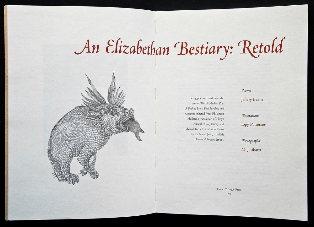 Title spread shows off the swash caps to be seen on successive pages and readers will notice a congruence between the shapes of the serifs and the details in the drawings of the various beasts.