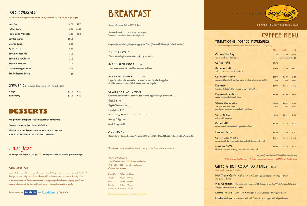 Three panels from the breakfast/lunch/coffee menu.