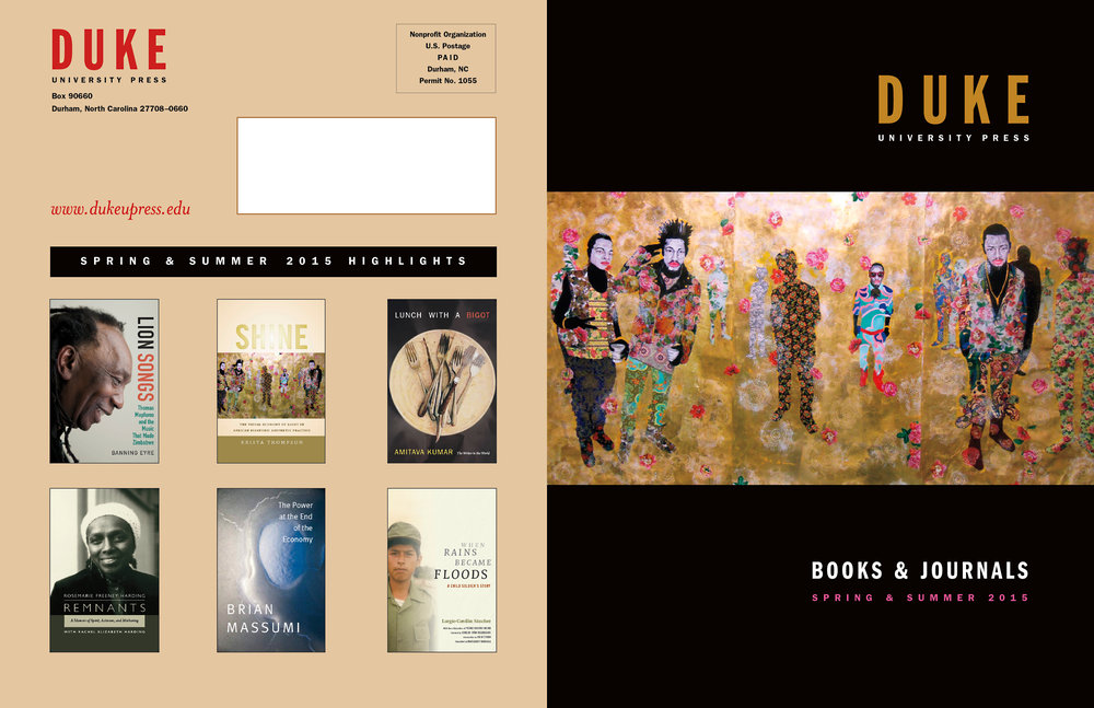 Back and front cover for Duke Press seasonal catalog.
