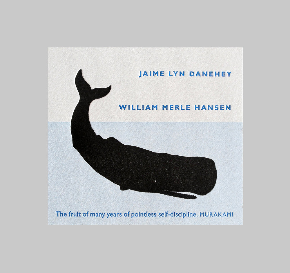 Bookplate for a librarian couple. They wanted to combine their love of classics (the whale is a reference to Moby Dick, one of their favorite books) with a quote from a contemporary author.