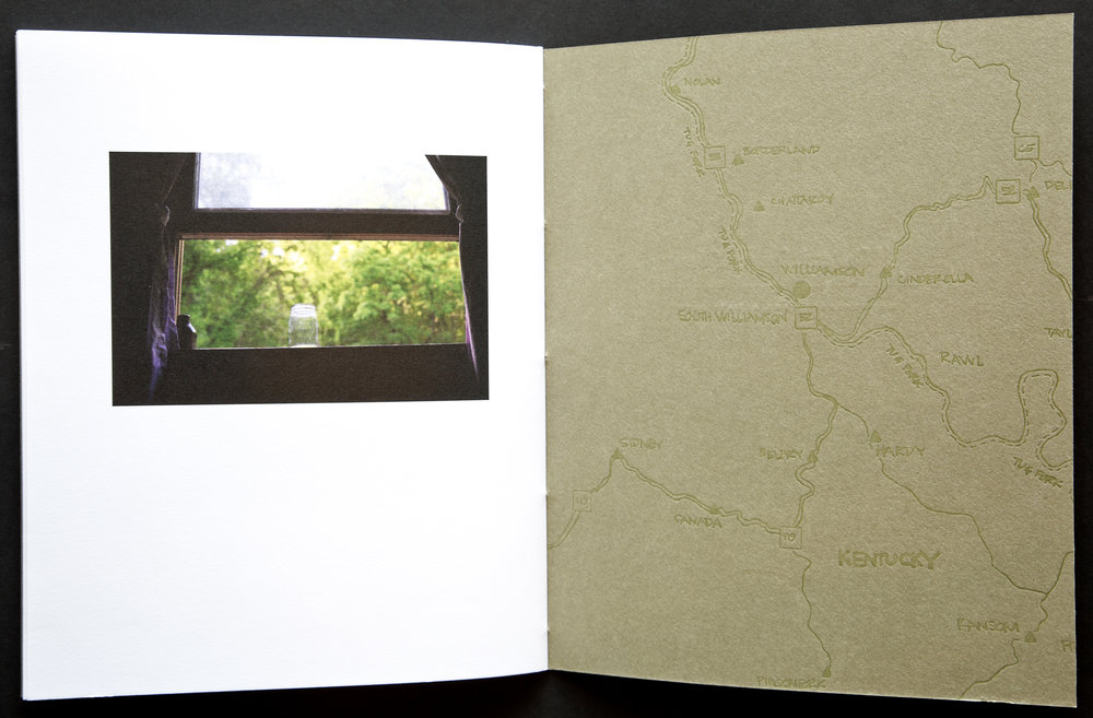 The image narrative is paused as volume one ends. The map on the inside back cover is lettepress printed and carries over onto the front cover of volume two.