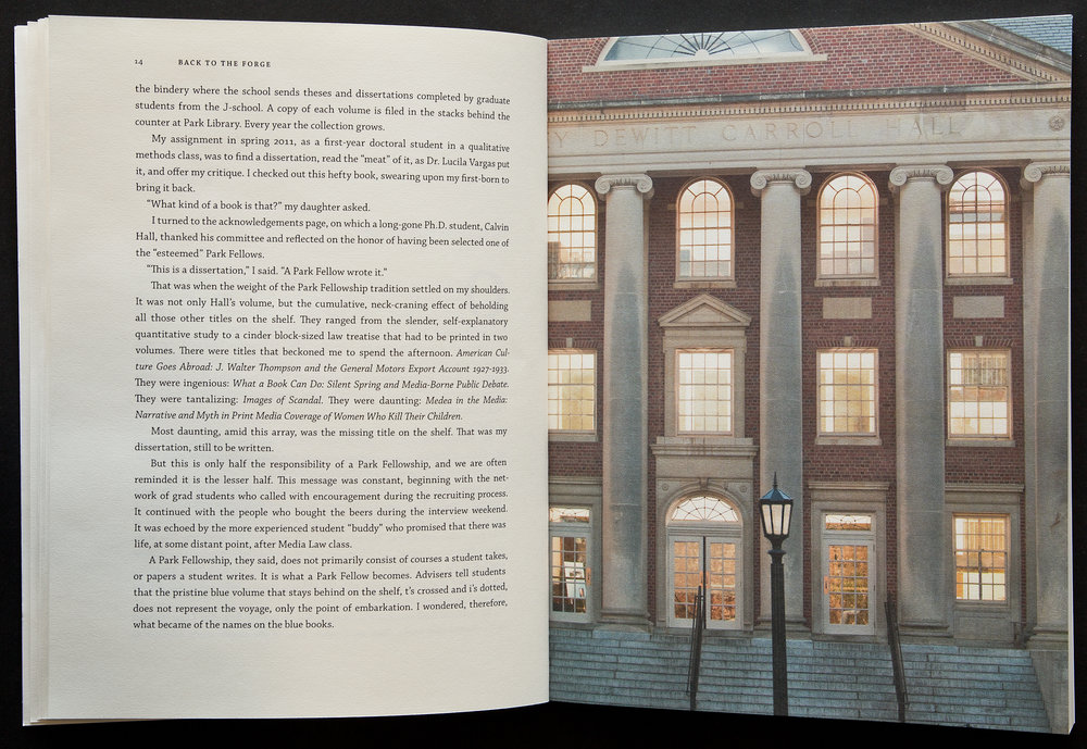 Spread from book for the UNC School of Journalism.