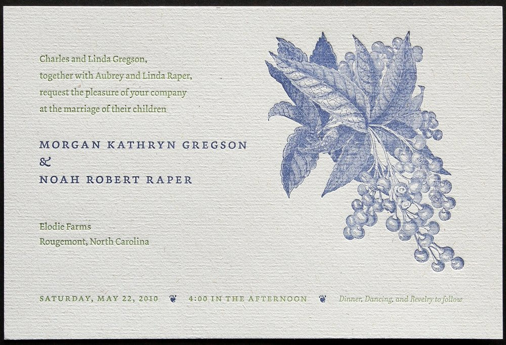 Wedding took place on a blueberry farm. Letterpress printing does a great job with line drawings.