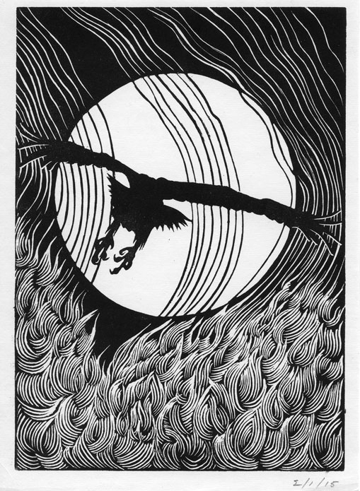 John McWilliams. Wood engraving.  Scream Echo . From the  Sons and Father  monograph I designed for his Halsey Institute of Contemporary Art exhibit. We have a range of framed and unframed work by this still active 84-year-old artist who celebrates his coastal South Carolina environment in his work.