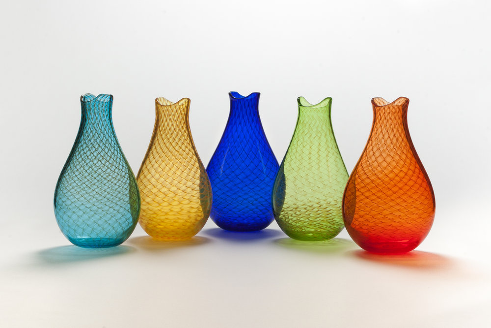 'Fishnet' vases by John Geci. John lives and works around the corner from Penland and we have vases and bowls in a variety of sizes and styles, tumblers, bourbon glasses, flasks, and decanters.