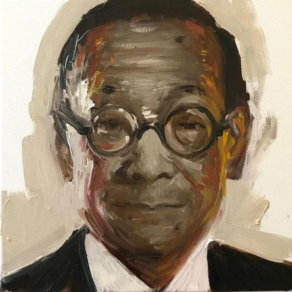 Noah Saterstrom.  Leadbelly . 12 by 12 inches. To date, Noah has painted over 300 portraits in his Faces series depicting artists, scientists, scholars, and other people who have made a large impact upon the world through their work.