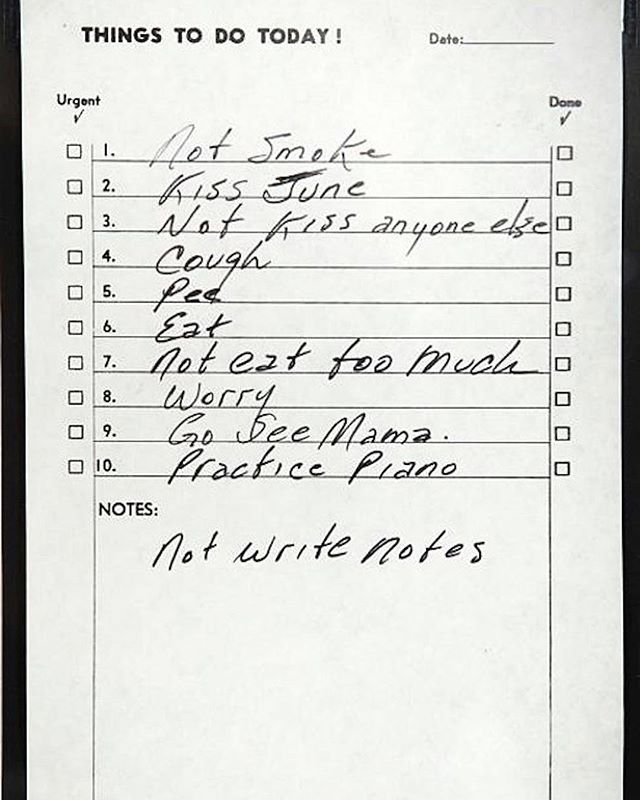 Johnny Cash's handwritten diary to-do list, 1969
