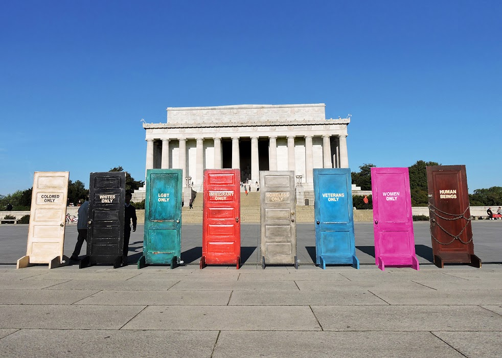 """End Hate Doors"" Installation. Lincoln Memorial, Washington, DC (click on image for description)"