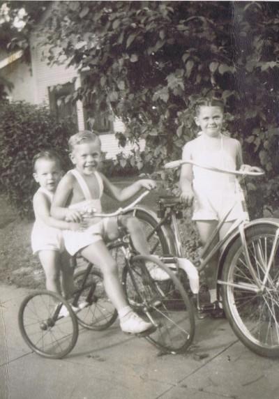 Howie, Leo Jr & Puss on trike & bike [c.1942-43] @1985