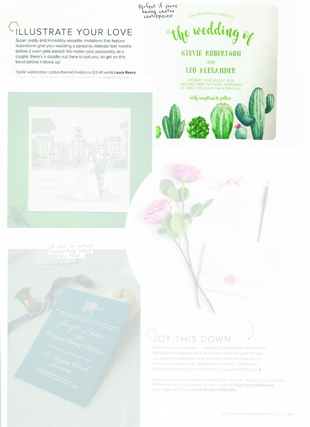 Scottish Wedding Directory - Cactus themed wedding stationery is so popular right now! Our latest design 'Stella' was featured in the Scottish Wedding Directory magazine.Can be found in Winter 18' issue, page 261.