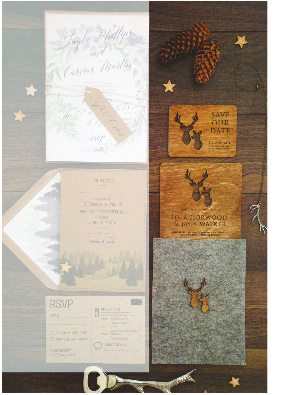 Scottish Wedding Directory - Our stag themed wooden invitations were featured in Scottish Wedding Directory magazine. This design has been popular for those who are having a rustic, Scottish themed wedding.Can be found in issue autumn 17 issue page 252