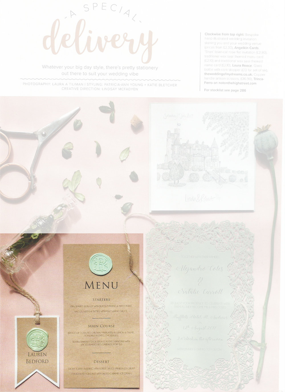 Scottish Wedding Directory - Our traditional wax seals are great for addition a little touch of regal to your stationery. Our seals were used on menu & name cards which were then featured in the magazine.Can be found in autumn 17' issue, page 249