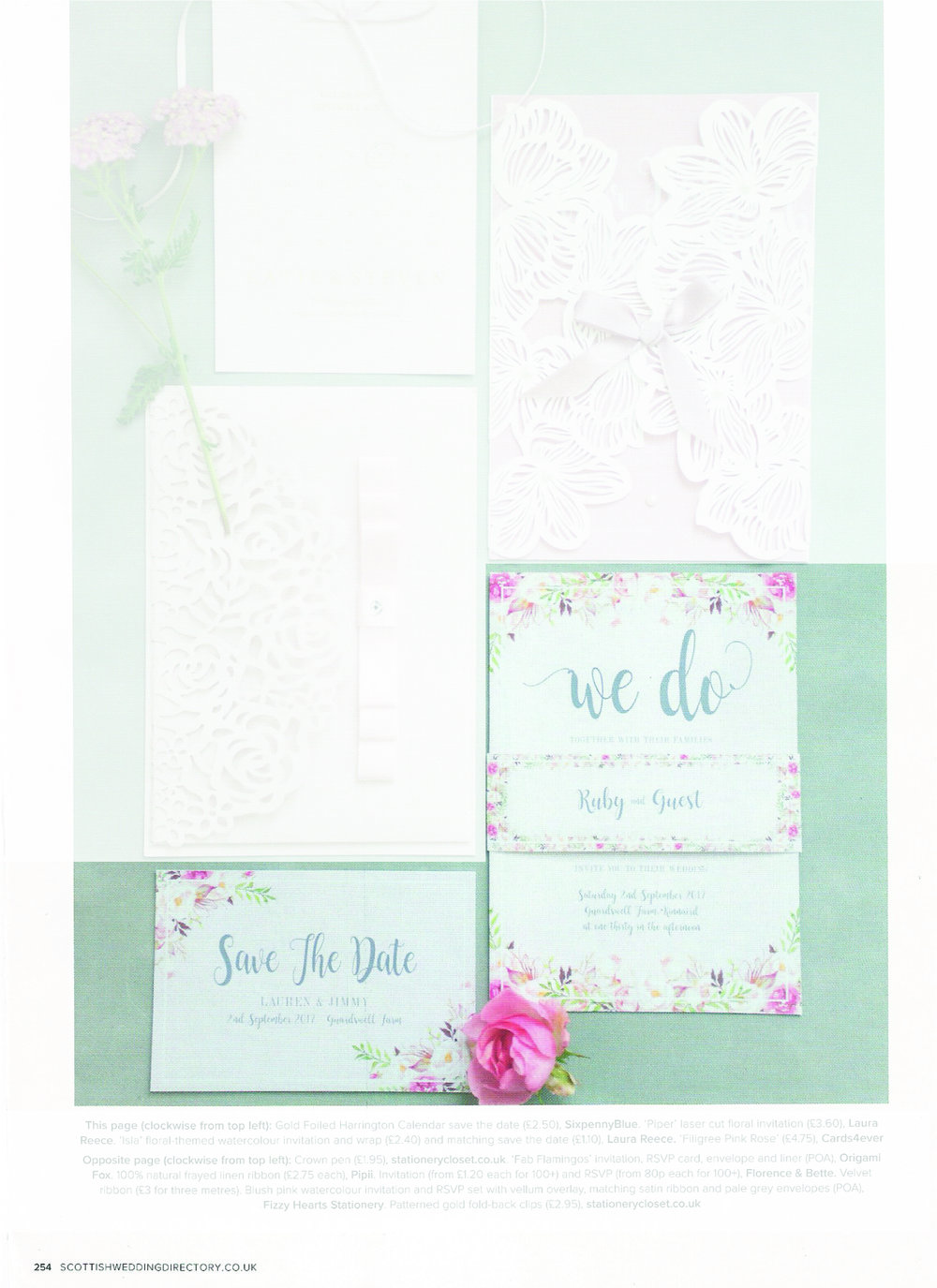 Scottish Wedding Directory - We LOVE this floral themed design. Available in various colour schemes this design was featured in the magazine in pink which fitted in with their pink florals theme.Can be found in autumn 17' issue, page 254.
