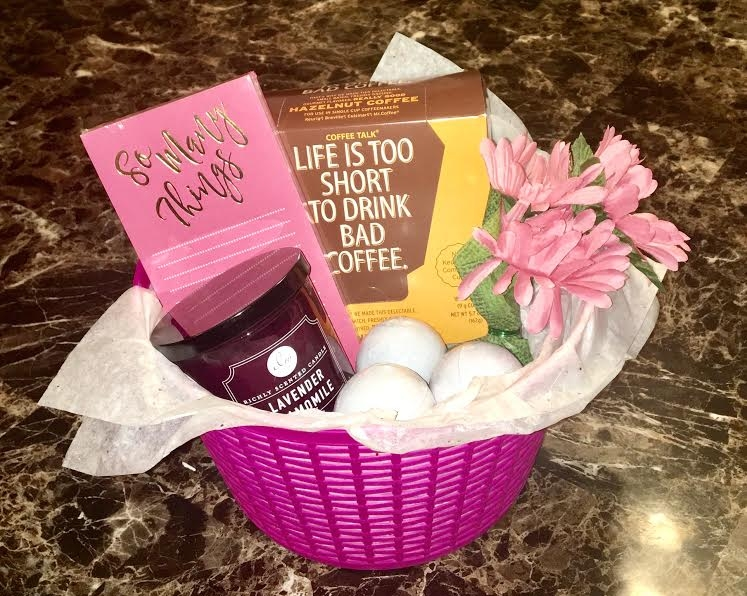 Coffee, notepad, candle, bath bombs