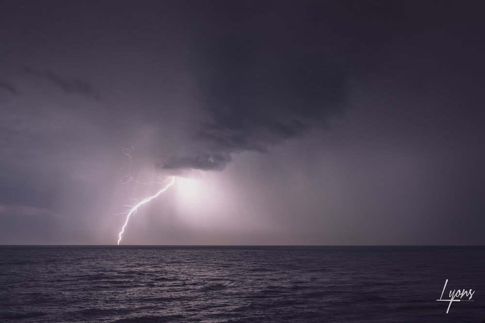 Lightning strike over Durlston Bay