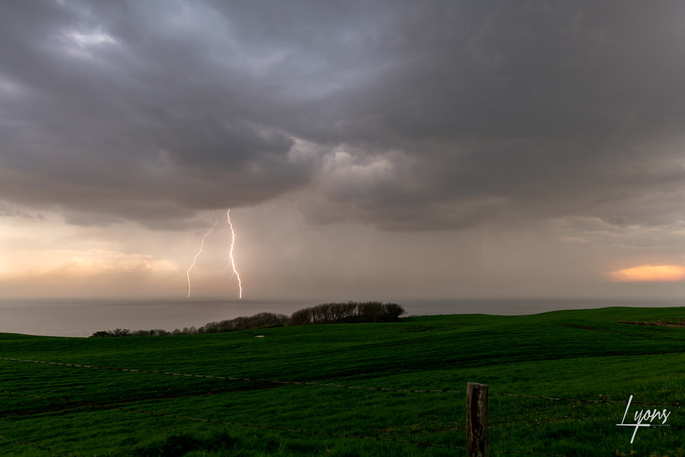 Daytime lightning strike over Chesil Beach
