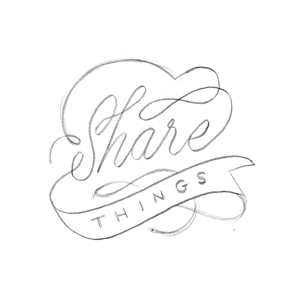 """Share Things."" Hand-drawn fairytale lettering, illustrated by Laura Dreyer."