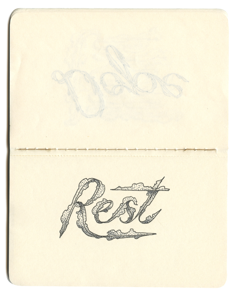 """Rest."" Hand-drawn lettering by Laura Dreyer."