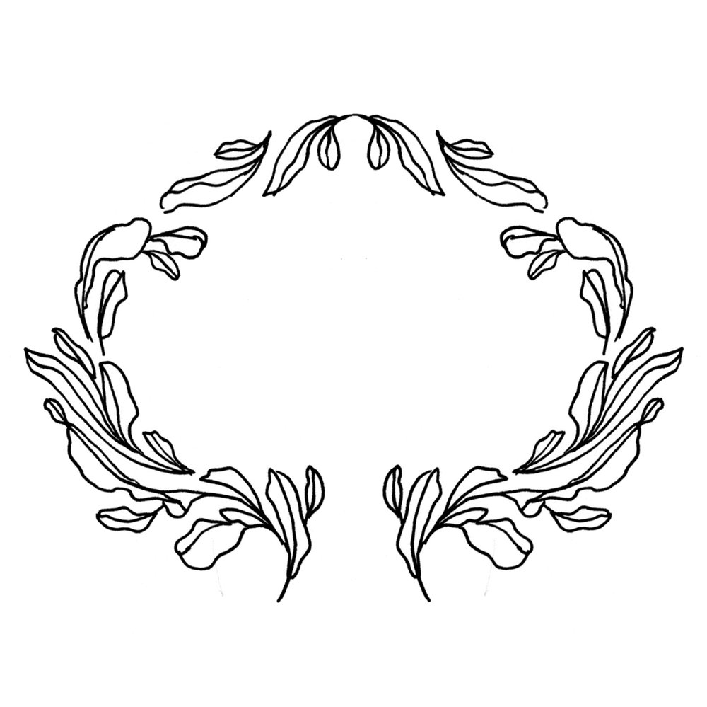 Floral frame design, drawn by Laura Dreyer