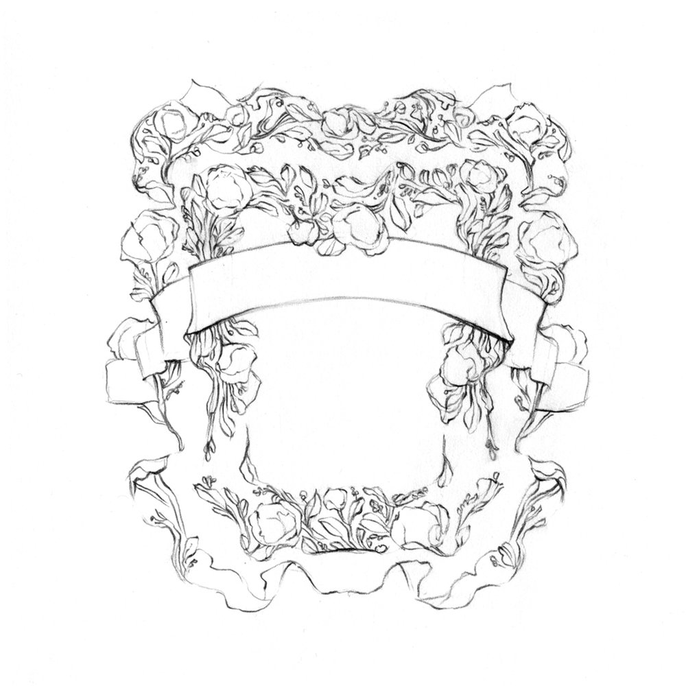 Fairy-tale decorative border design, drawn by Laura Dreyer
