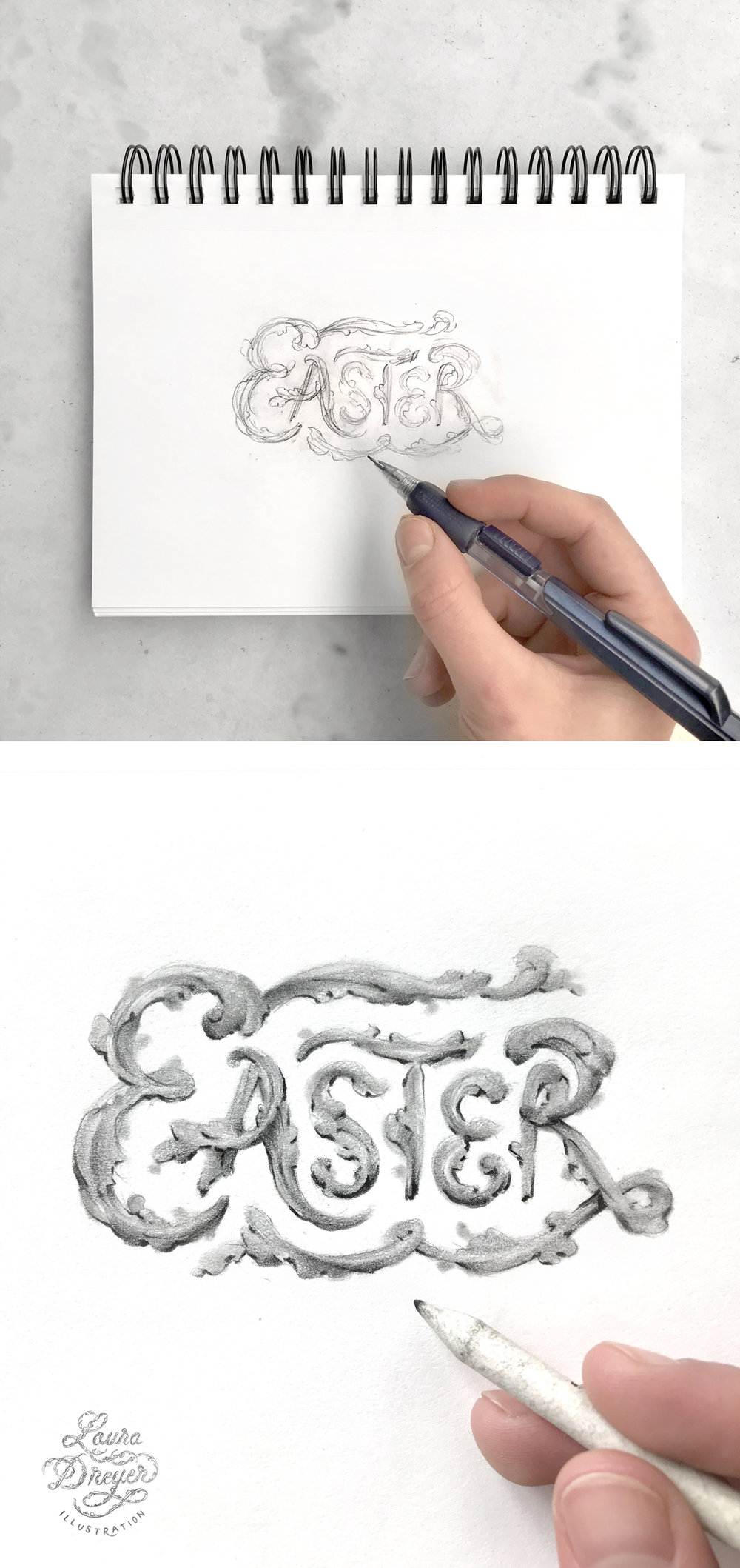 Hand-lettering the word Easter, drawing in pencil by Laura Dreyer.