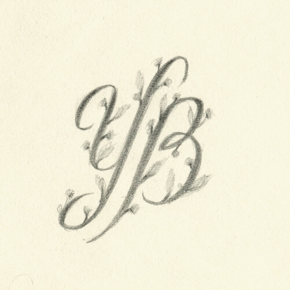 Ornate monogram YB, illustrated in pencil by Laura Dreyer.