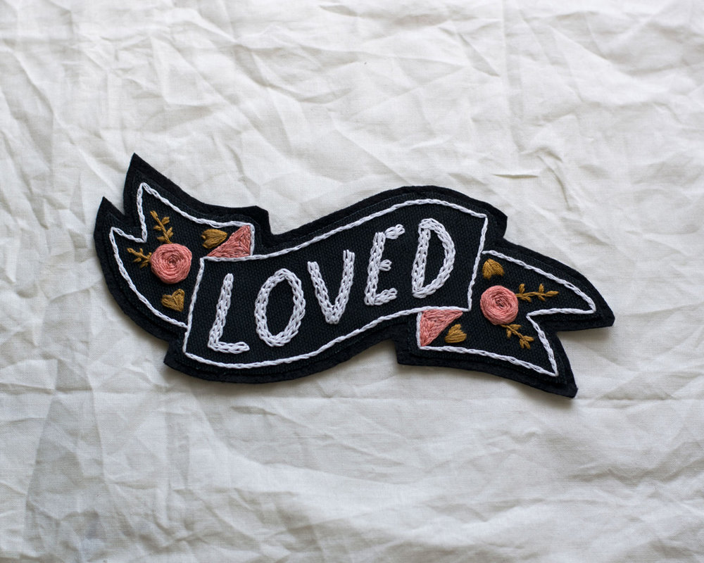 Hand-embroidered patch by Danikqwa Rambert for her shop, Heart and Soul PVD