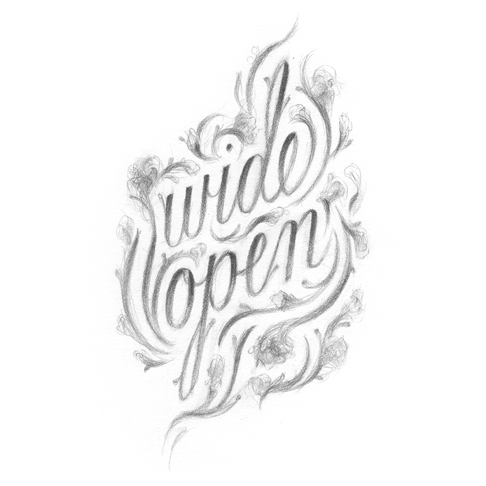 """Wide Open."" Lettering drawn by Laura Dreyer."