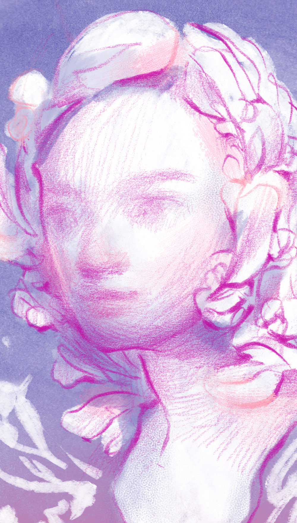 Detail of purple portrait drawing of girl with flower crown