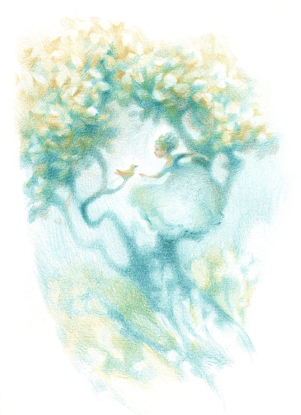 Children's Illustration in colored pencil: Blue Tree Princess
