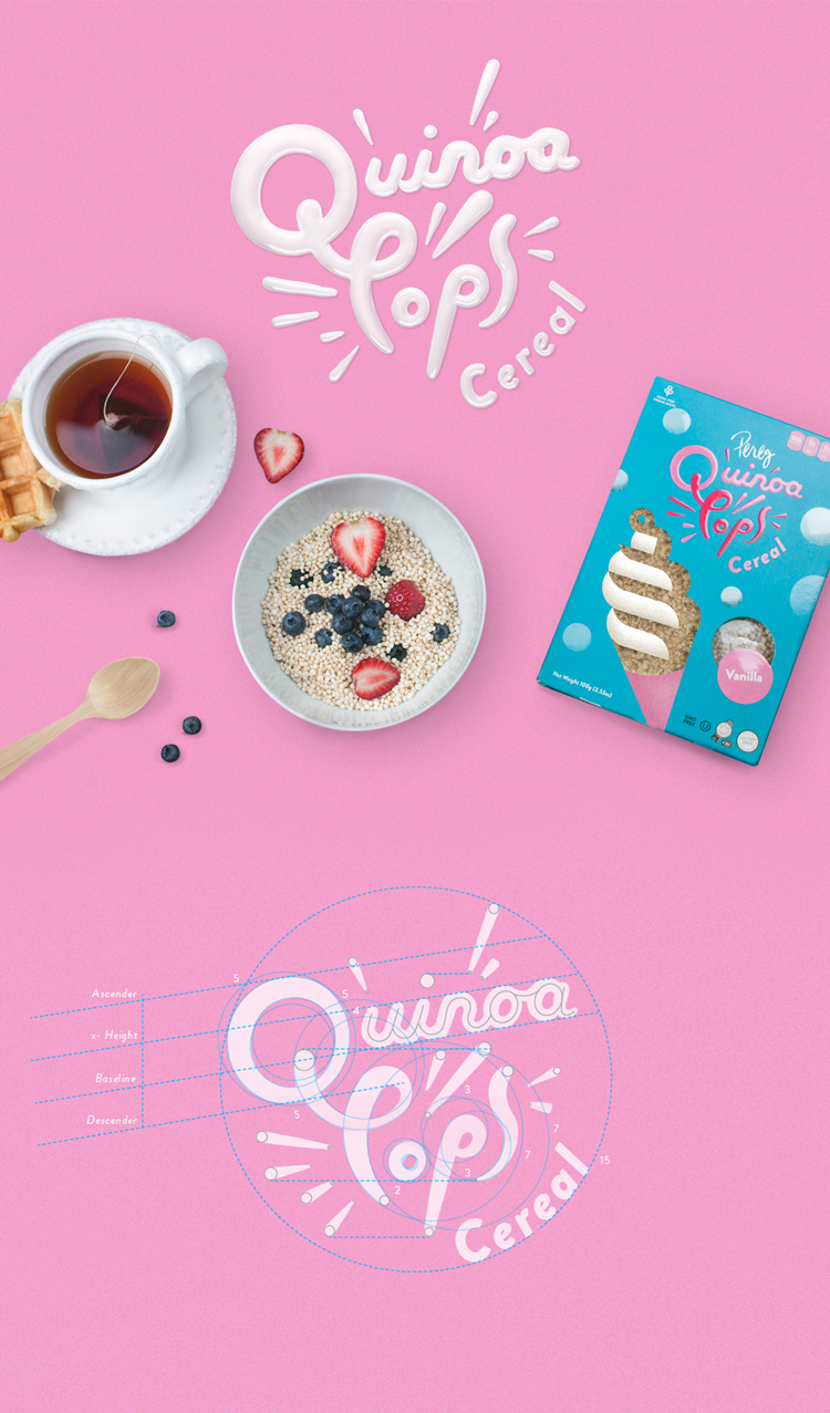 Logo and Packaging Design for Quinoa Pops Cereal  Packaging Design by Cheungyoon Kim and Laura Dreyer Agency: SQUAT New York  | Client:   Pereg Gourmet