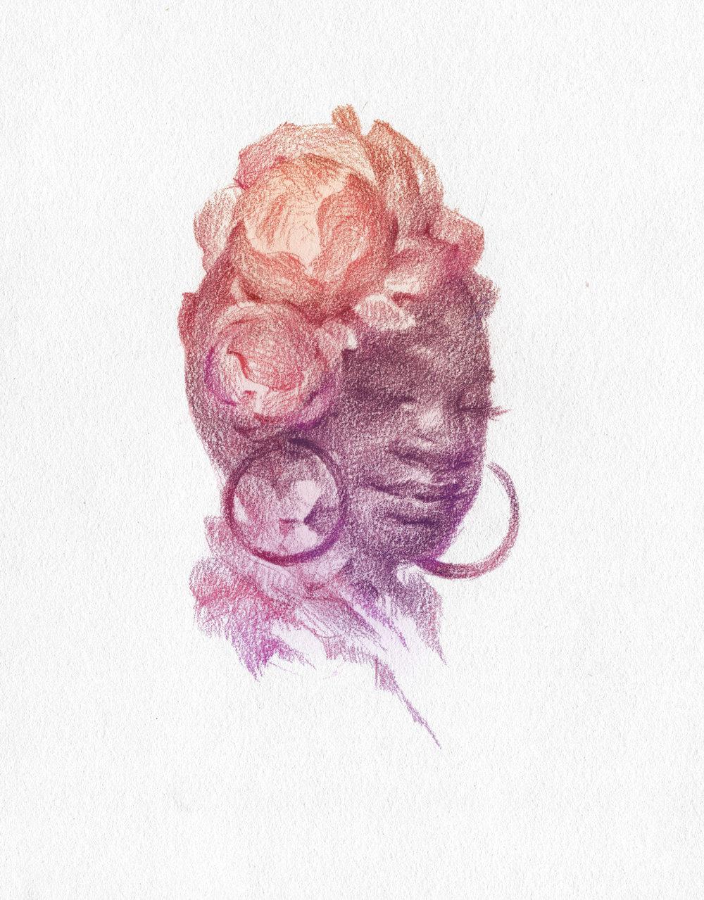 African Woman in Head Wrap - Portrait in pencil by Laura Dreyer