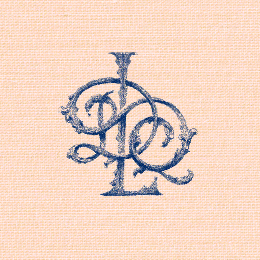 Ornate monogram DQL, illustrated in pencil by Laura Dreyer.