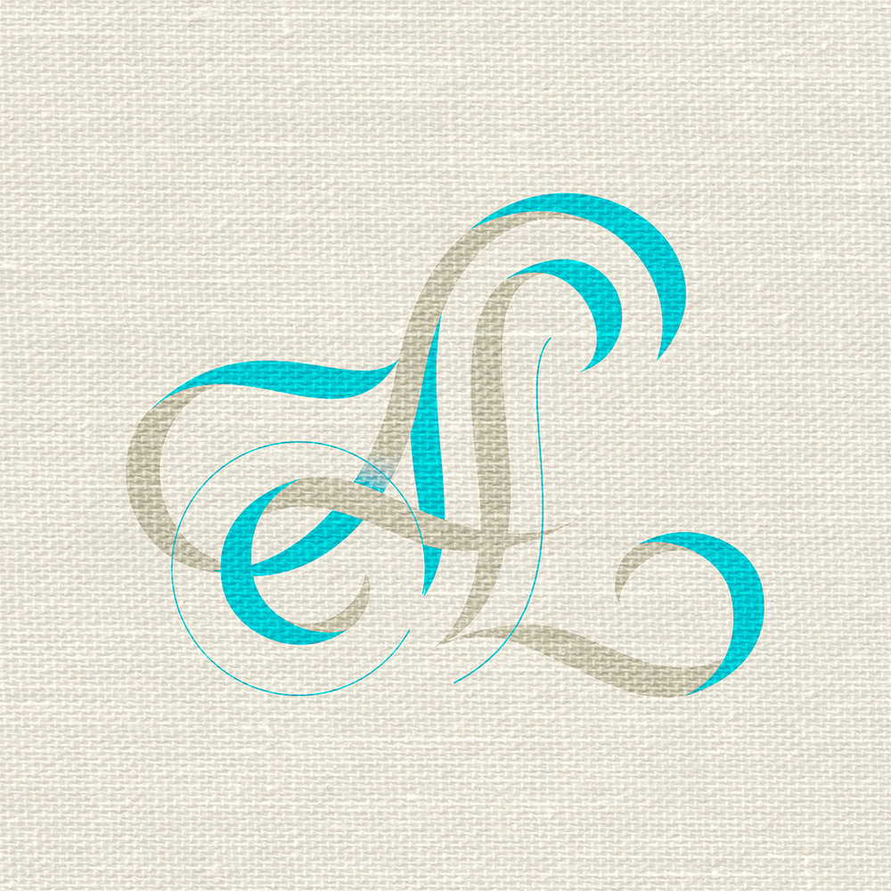 AL monogram, illustrated in pencil by Laura Dreyer.