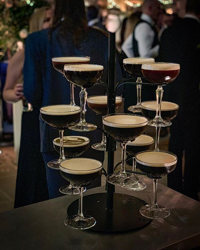 A tree of Espresso Martini's is the perfect way to see your guests through the night 🍸 #yorkshirebartender