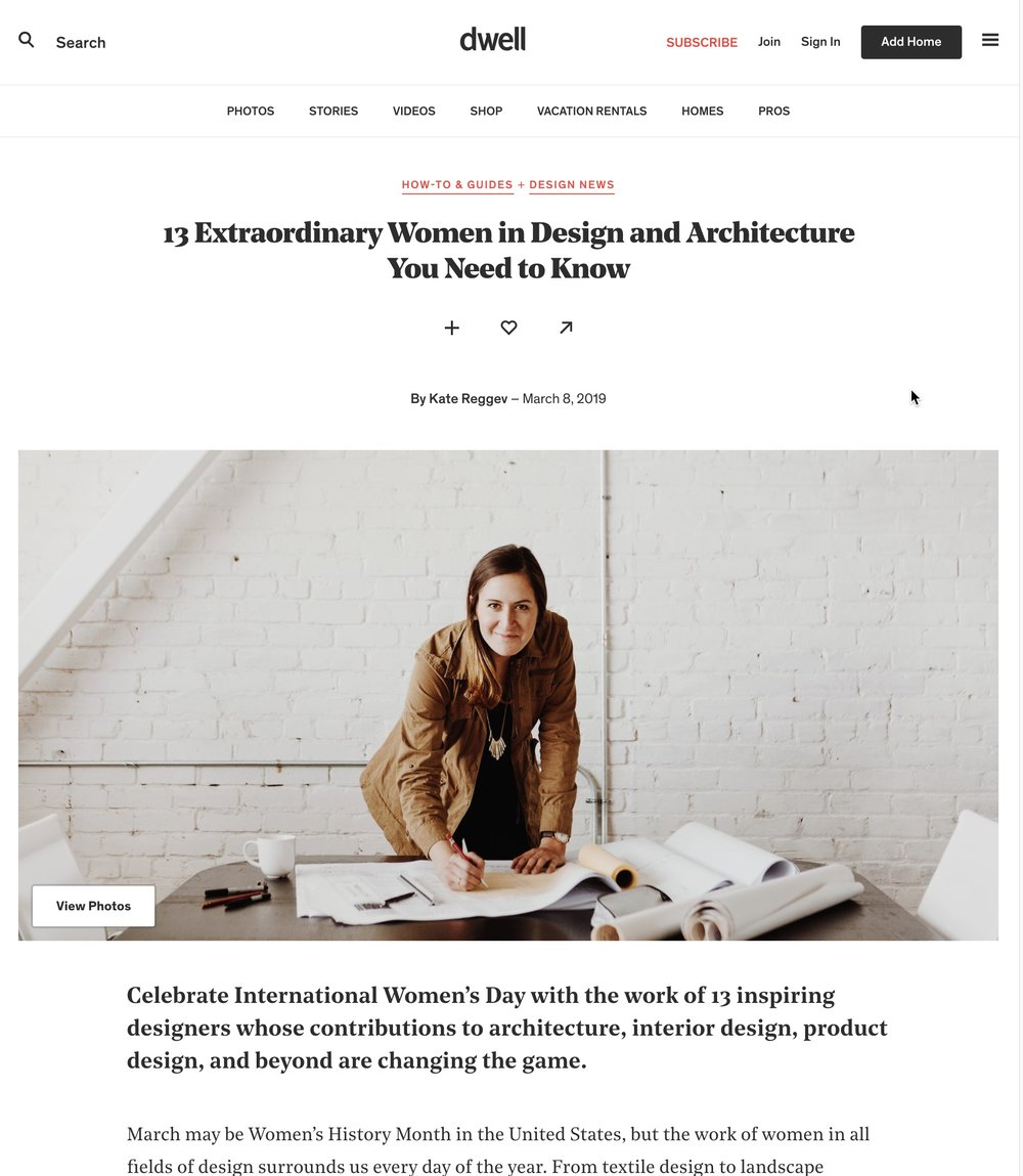 DWELL MAGAZINE EXTRAORDINARY WOMEN 2019