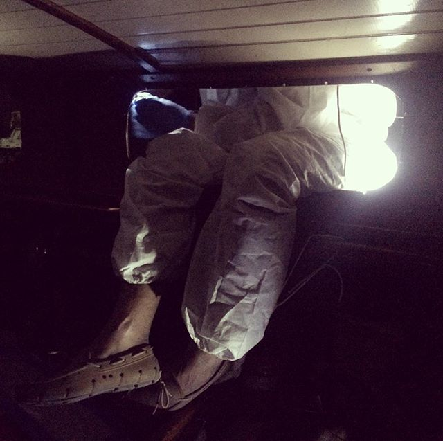 Working the night shift. #lookintomydeadlights #boatwork #newwindows #diy