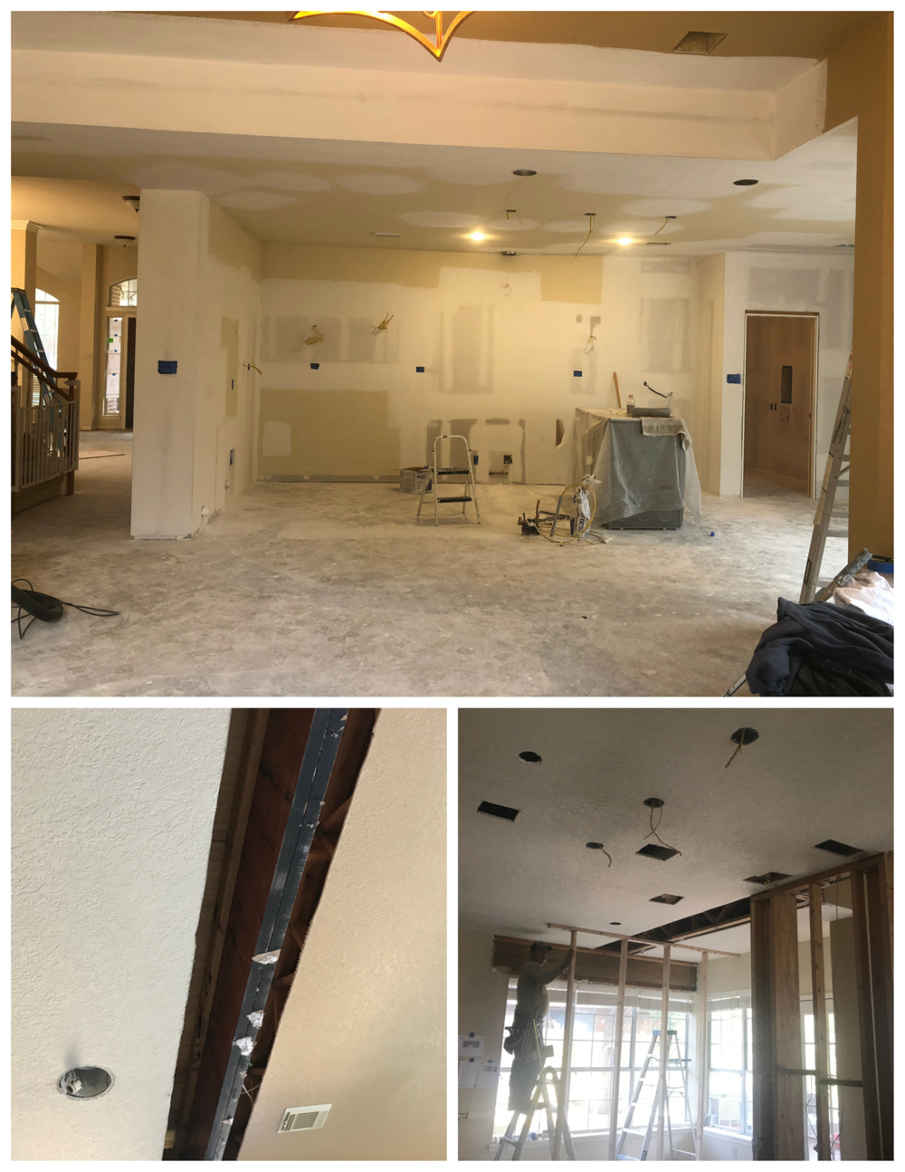 (ABOVE) Full gut of the kitchen to create a blank canvas.  (LEFT & RIGHT) Installation of a beam in place of the load bearing wall.  After installation of this beam, the ceiling is drywalled, taped, floated, and textured--good as new!