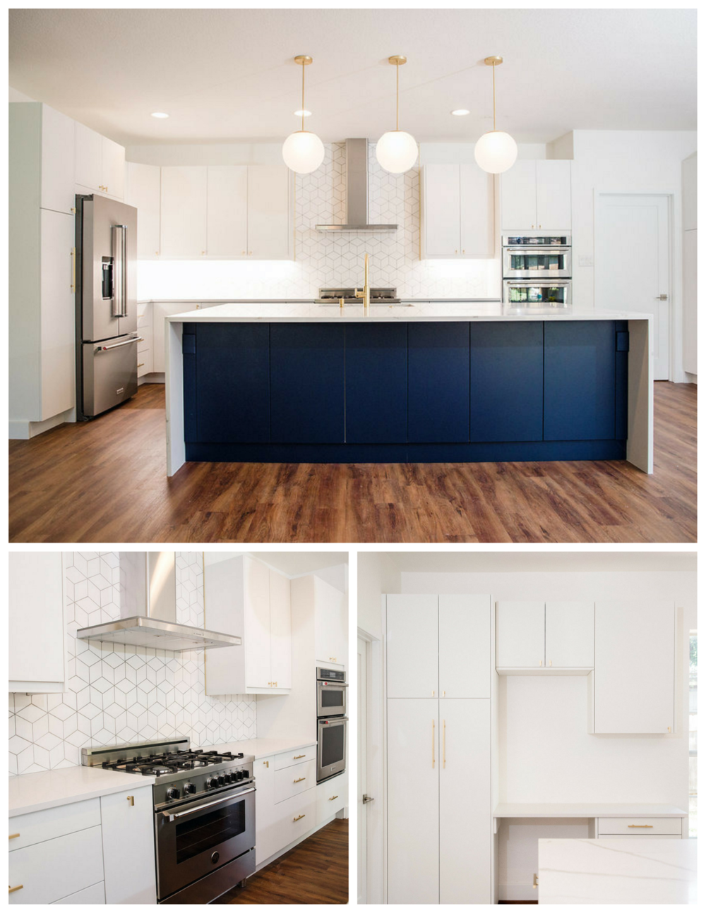 (ABOVE) Three pendant lights complete the look above this spacious island.   (LEFT) A double oven, slide in, and upgraded stovetop make this kitchen prime for some serious cooking.  (RIGHT) The kitchen was extended into the existing laundry area to create room for extra cabinet storage and a study nook.