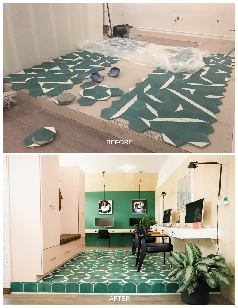 We decided to use clé tile for the raised floor design. (Above) Laying out the floor design and playing with the pattern. (Below) The finished space!
