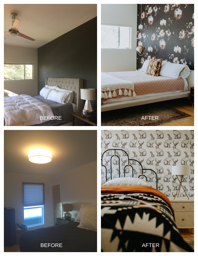 Up first were the bedrooms: fresh paint, a wallpaper accent wall, new bedding and lighting, and layered textures & patterns all helped to create warm, relaxing bedroom spaces.
