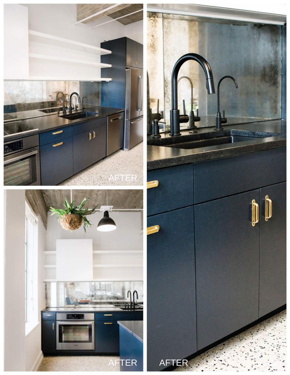 The selection and installation of materials kept with the industrial feel of the kitchen. Here are some that contributed to the overall design aesthetic: Appliances— Bosch Black Stainless Steel; Countertops—Honed Black Leather Granite; Backsplash—Custom Antique Mirror Panels; Faucet—Delta Matte Black; Cabinetry paint—Farrow & Ball Railings; Pulls & Hardware—Antique Brass or Matte Black. Allison Crawford, Designer.