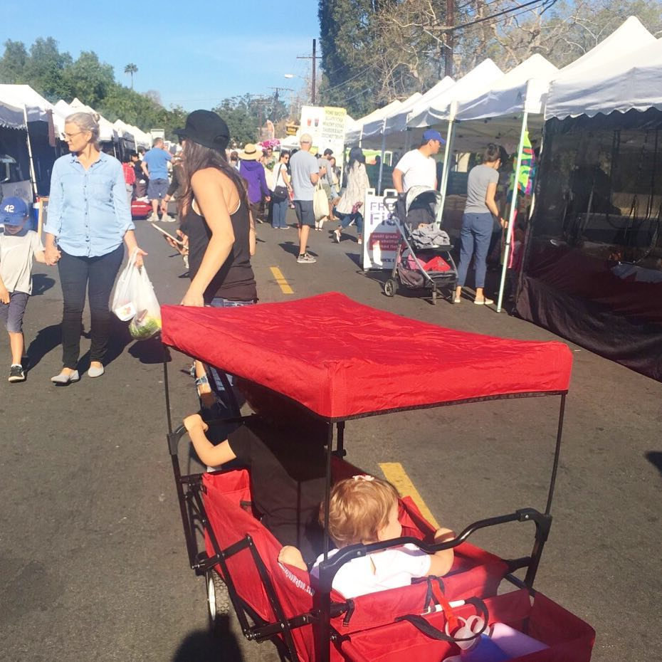 farmers market with 2 kids